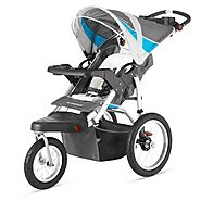 Best Bob Jogging Strollers for Runners | Schwinn Turismo Single Swivel Stroller, Grey/Blue