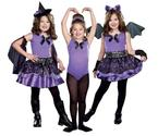 Bat Wings Costume For Halloween | Dreamgirl Girls 3-in-1 Witch / Dark Ballerina / Bat Child Costume Black/purple Small