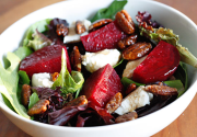 Baby Greens with Goat Cheese, Beets and Candied Pecans | Skinnytaste