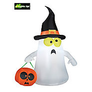 Gemmy Outdoor Ghost with Witch Hat, White, Standard