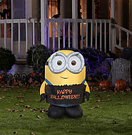 Best Inexpensive Halloween Outdoor Yard/Lawn Inflatables On Sale - Reviews 2014 | Minion Bob Holding Happy Halloween Sign Airblown Inflatable