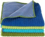 Kitchen Towels and Dishcloths Sets | Ritz Microfiber 12 by 12-Inch Dish Cloth with Poly Scour Side, Assorted Blue/Green, 4-Pack