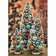 Whimsy Tabletop Bottle Brush Christmas Trees with Colorful Ornaments, Set of 3