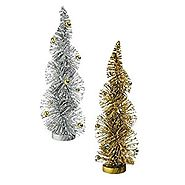 Grasslands Road Holiday Impressions: Set of Two Bottle Brush Trees Gold and Silver