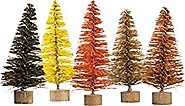 PBK Fall Decor - Miniature Bottle Brush Sisal Fall Color Trees 5pc Set #29438