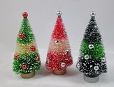 "Bottle Brush Christmas Trees | Retro-style Bottle Brush Christmas Tree Set of 3 Variegated Colors 6"" tall NEW"