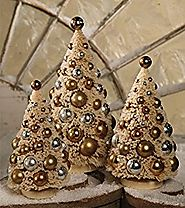 Bethany Lowe Christmas Romantic Bottle Brush Trees Gold and Silver LG0742