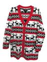 Plus Size Ugly Christmas Sweaters | Womens Oversized Christmas Reindeer Cardigan