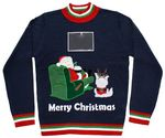 Plus Size Ugly Christmas Sweaters | Lazy Santa Sweater with Phone Pouch in Green - Ugly Christmas Sweater