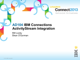 IBM Connect2013 Sessions On SlideShare | AD104: IBM Connections ActiivtyStream Integration