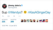 It's Kiss a Ginger Day, So Jimmy John's Is Now Flirting With Wendy's