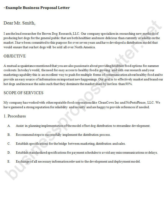 how to write a business proposal letter samples