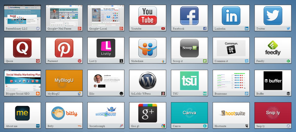Social Media Profiles + Tools + Apps