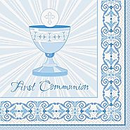 First Communion Decorations and Party Supplies | Radiant Blue Cross Napkins