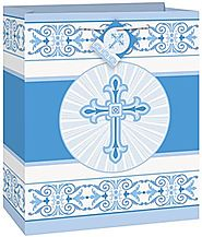 First Communion Decorations and Party Supplies | Radiant Cross Blue Gift Bag