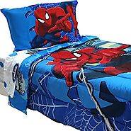 4pc Marvel Comics Spider-Man Twin Bedding Set Spidey Astonish Comforter and Sheet Set