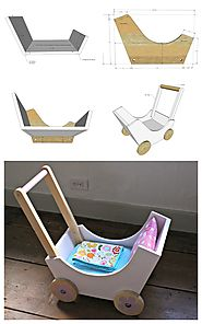 DIY Doll pram or stroller made from wood scraps.