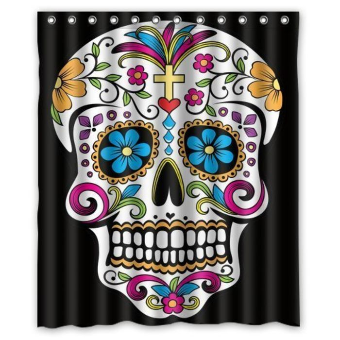 Day Of The Dead Bathroom Set: Best Sugar Skull Shower Curtain Designs