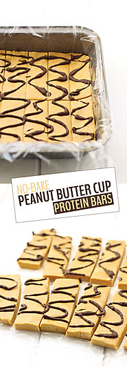 50 Yummy Healthy Snack Recipes for Everyone | No-Bake Peanut Butter Cup Protein Bars - The Healthy Maven