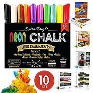 Liquid Chalk Markers For Chalkboards | NUDGE® 3-IN-1: Liquid Chalk Markers Paint in each Marker Pen - 10 , 6mm Marker Pens - Dry & Wet Erase / Wipe - Dustle...