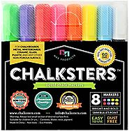 Liquid Chalk Markers For Chalkboards | Chalksters Chalk Markers - 8-pack, Liquid Chalk, 5mm Regular Bullet Tip, Chalkboard Markers