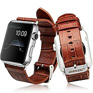 Jisoncase Genuine Alligator Pattern Leather Band for Apple Watch (On Sale $30.99)