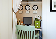 Home Office | Get Organized in a Small Space with a Cloffice {Office Closet} - The Happy Housie