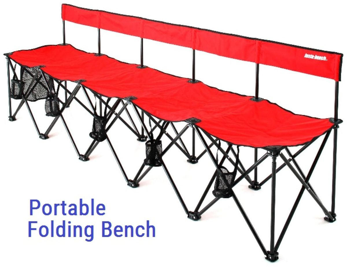 Collapsible Portable Folding Soccer Team Bench 6 Seats