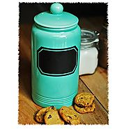 "12"" Large Turquoise Glossy Ceramic Cookie Jar Kitchen Canister w/ Vintage Style Black Chalk Board Label"