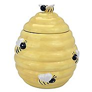 MyGift® Decorative Yellow Beehive Design Ceramic Cookie Jar w/ Bee Handle Lid