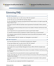 Licensing FAQ for SBS 2011
