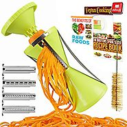 Best Rated Spiral Vegetable Slicers Reviews | Brieftons NextGen Spiralizer: 4-Blade Vegetable Spiral Slicer, 150% Bigger, 50% Less Wastage, Perfect Veggie Spaghett...