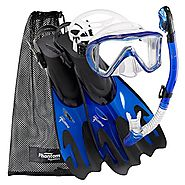 Best Rated Snorkeling Sets Reviews | Phantom Aquatics Legendary Mask Fin Snorkel Set with Mesh Bag