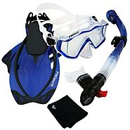 Best Rated Snorkeling Sets Reviews | PROMATE Scuba Dive Panoramic PURGE Mask Dry Snorkel Snorkeling Fins Gear Set