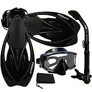 PROMATE Snorkeling Scuba Dive Panoramic PURGE Mask Dry Snorkel Fins Gear Set, ALLBlack, ML/XL