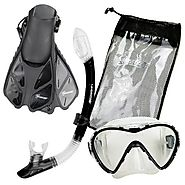 Seavenger Adult and Junior Diving Snorkel Set- Dry Top Snorkel / Trek Fin / Single Len Mask / Gear Bag- Blue/red/yell...