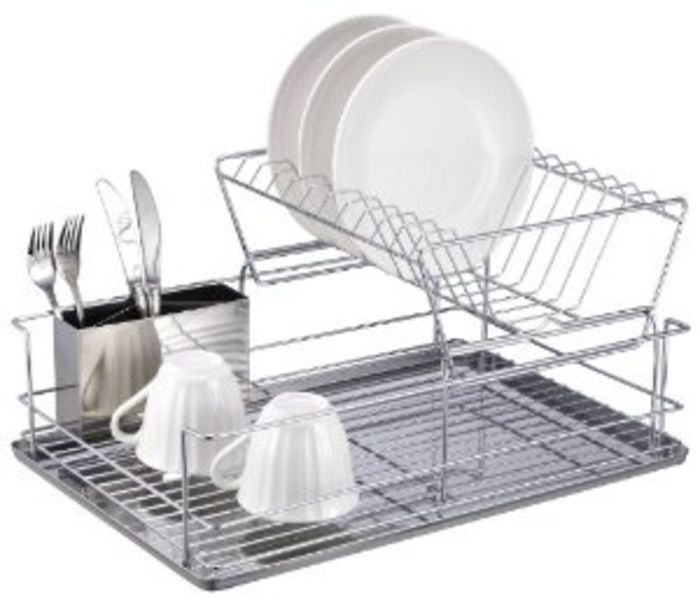 2 Tier Dish Rack with Tray - Stainless Steel Two Tier Dish Racks