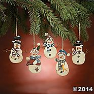 Winter Snowman Christmas Ornaments | Country Snowman Ornaments - Christmas Decor - One Dozen