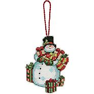 Winter Snowman Christmas Ornaments | Dimensions Counted Cross Stitch, Snowman Ornament