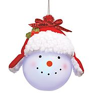 Winter Snowman Christmas Ornaments | Tinsel Hat Snowman Hanging Light-Up Christmas Ornament
