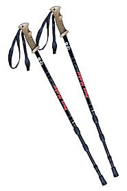 "Best Trekking Poles for Tall People Reviews | Pair of PaceMaker ""Journey"" Antishock Trekking Poles with Attachments and Extended Life Vulcanized Rubber Feet."