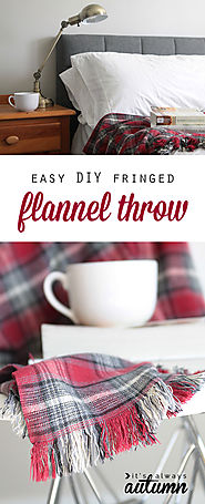 Handmade Christmas Gifts on a Budget | easy DIY fringed flannel throw {great gift idea!} - It's Always Autumn