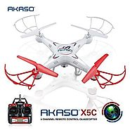 AKASO X5C 4CH 2.4GHz 6-Axis RC Quadcopter with HD Camera, Gyro Headless, 360-degree 3D Rolling Mode 2 RTF RC Drone ( ...