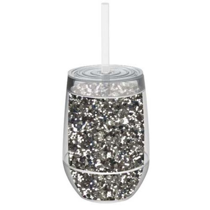Plastic Stemless Wine Glasses With Lid And Straw A