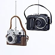 Holiday Gifts for Photographers | Classic & Digital Camera Christmas Tree Ornament (set OF 2)