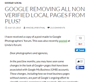 Best 2015 Local SEO Articles | Crowed Sourced | GOOGLE REMOVING ALL NON VERIFIED LOCAL PAGES FROM PLUS?