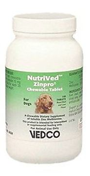 Best Zinc Sulfate Supplements and dog food for Dogs with Canine Zinc Deficiency, Zinc-Responsive Dermatosis 2016 | NutriVed Zinpro for Dogs (100 CHEWABLE Tablets)