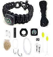"Survival Kit Paracord Bracelet | The Ultimate Paracord Survival Kit Bracelet: Food, Fire, Shelter (Large 7""-8.5"" Black with Compass)"