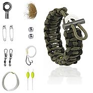 Survival Kit Paracord Bracelet | The Friendly Swede Multi-purpose Paracord Bracelet Survival Kit for Preppers (Army Green with Black line)