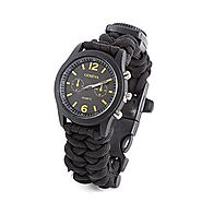 Survival Kit Paracord Bracelet | Silvercell Survival Bracelet With Watch Compass Flint Fire Starter Scraper Whistle Gear (Black)